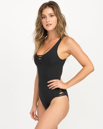 1 ROCKAWAY RIB ONE PIECE Black L3SWRGRVF8 RVCA