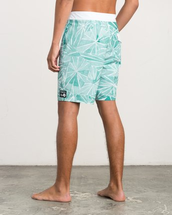 "3 Blade Printed 20"" Boardshort Green M105QRBL RVCA"