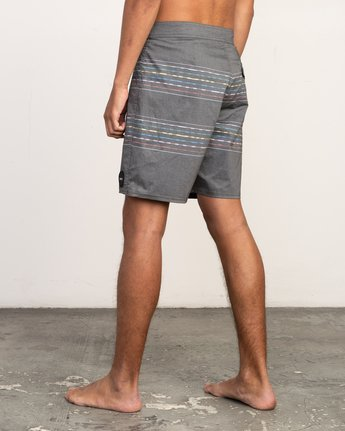 "3 Double Vision Striped 19"" Boardshort Black M162TRDO RVCA"