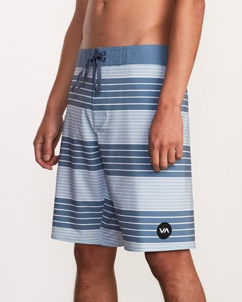 "6 Uncivil Stripe 20"" Boardshort Blue M164TRUN RVCA"