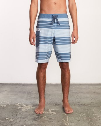 "1 Uncivil Stripe 20"" Boardshort Blue M164TRUN RVCA"