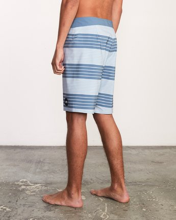 "3 Uncivil Stripe 20"" Boardshort Blue M164TRUN RVCA"