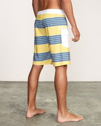 "5 Uncivil Stripe 20"" Boardshort Yellow M164TRUN RVCA"