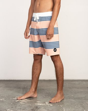 "2 Uncivil Stripe 20"" Boardshort Orange M164TRUN RVCA"