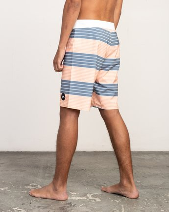 "3 Uncivil Stripe 20"" Boardshort Orange M164TRUN RVCA"