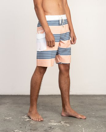"6 Uncivil Stripe 20"" Boardshort Orange M164TRUN RVCA"