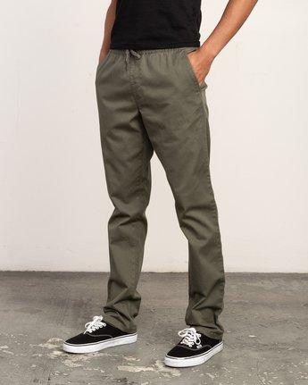 2 WeekEnd Elastic straight fit Pant Green M302TRWE RVCA