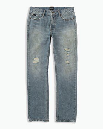 6 Stay RVCA Straight Fit Denim Jeans Blue M308QRSR RVCA