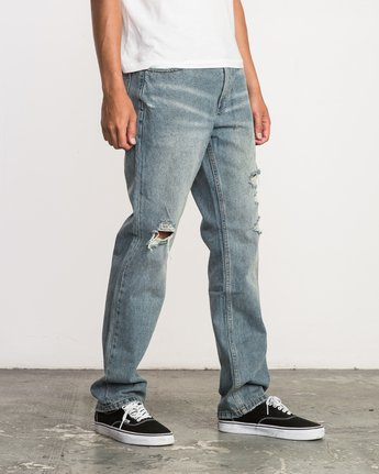 5 Stay RVCA Straight Fit Denim Jeans Blue M308QRSR RVCA