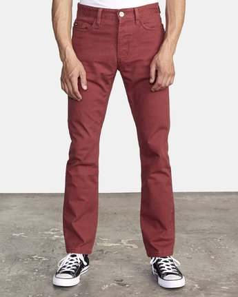 2 week-end 5-Pocket straight fit Pant Red M310VRWP RVCA
