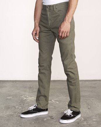 1 Daggers Slim-Straight Twill Pants Green M313VRDT RVCA