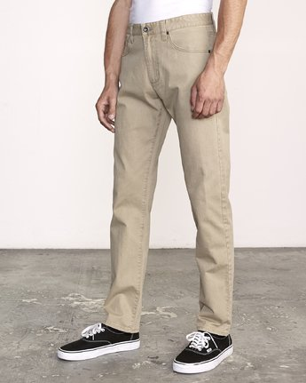 1 Daggers Slim-Straight Twill Pants White M313VRDT RVCA