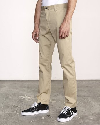 4 week-end Stretch straight fit Pant Beige M3493RWS RVCA