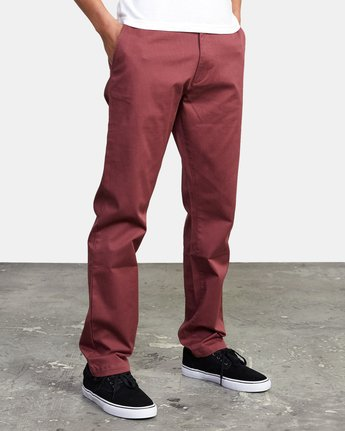 8 week-end Stretch straight fit Pant Red M3493RWS RVCA