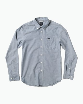 0 That'll Do Oxford Long Sleeve Shirt Blue M3515TDL RVCA