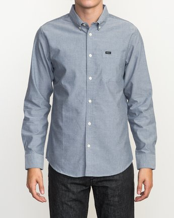 1 That'll Do Oxford Long Sleeve Shirt Blue M3515TDL RVCA