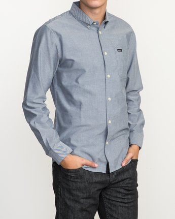 3 That'll Do Oxford Long Sleeve Shirt Blue M3515TDL RVCA