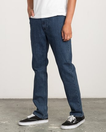 1 Stay RVCA Straight Fit Denim Jeans Blue M354QRSR RVCA