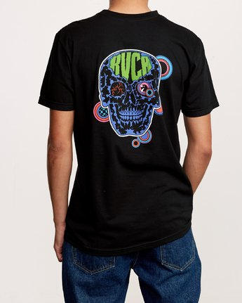 3 Dmote Electric Skull T-Shirt Black M401VREL RVCA