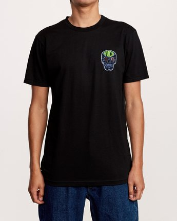 2 Dmote Electric Skull T-Shirt Black M401VREL RVCA