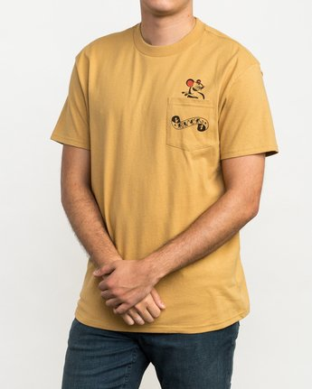3 Bert Krak Tat Cat T-Shirt Green M414QRTA RVCA