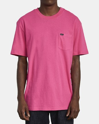 1 SOLO LABEL SHORT SLEEVE TEE TEE Pink M414VRSO RVCA