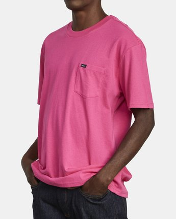 4 SOLO LABEL SHORT SLEEVE TEE TEE Pink M414VRSO RVCA
