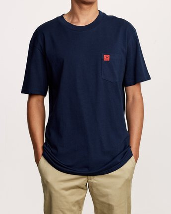 2 Smith Street Wicks Pocket T-Shirt Blue M414VRWI RVCA