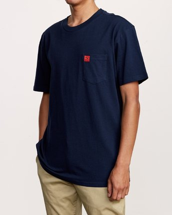 3 Smith Street Wicks Pocket T-Shirt Blue M414VRWI RVCA