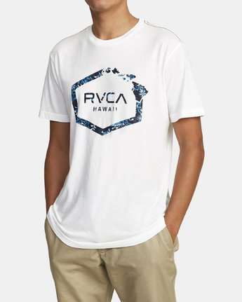 1 ISLAND HEX FILL SHORT SLEEVE T-SHIRT White M4202RIH RVCA
