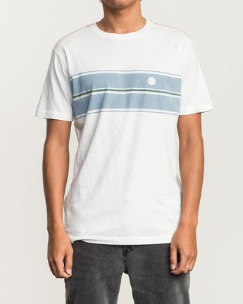 1 Motors Stripe T-Shirt White M430SRMO RVCA