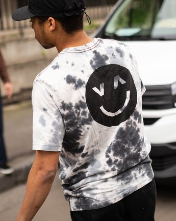 2 Happy Sad Tie Dye T-Shirt Black M446VRHS RVCA