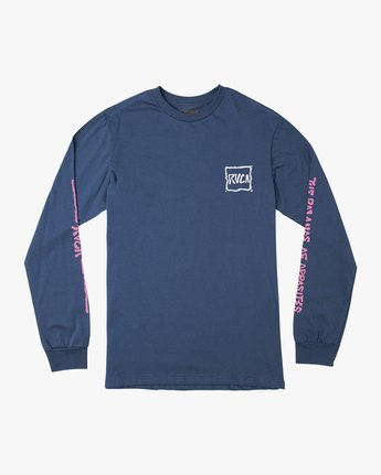 1 Sludged Long Sleeve T-Shirt Blue M451URSL RVCA