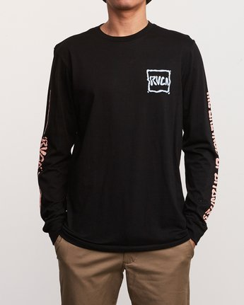 2 Sludged Long Sleeve T-Shirt Black M451URSL RVCA