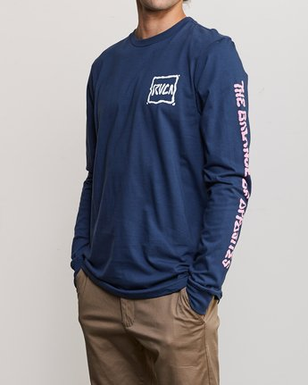 3 Sludged Long Sleeve T-Shirt Blue M451URSL RVCA