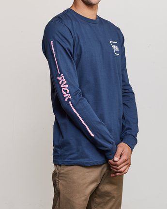 4 Sludged Long Sleeve T-Shirt Blue M451URSL RVCA