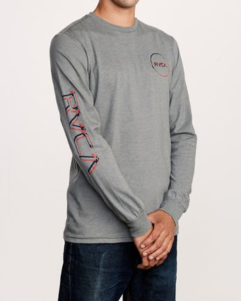 4 Big Glitch Long Sleeve T-Shirt Grey M451VRBG RVCA