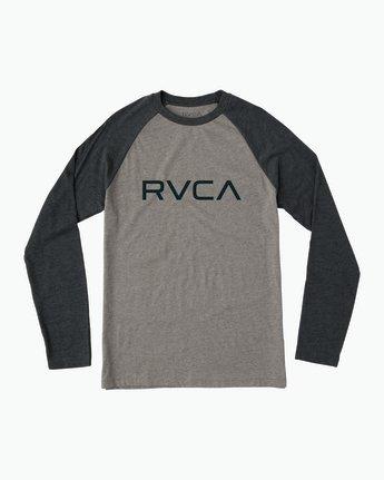 0 Big RVCA Baseball Raglan T-Shirt Grey M454SRBI RVCA