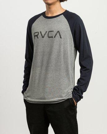 2 Big RVCA Baseball Raglan T-Shirt Grey M454SRBI RVCA