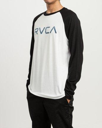 2 Big RVCA Baseball Raglan T-Shirt White M454SRBI RVCA