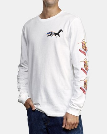 3 Spanky Gallop Long Sleeve T-Shirt White M456WRGA RVCA
