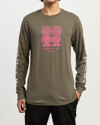 2 Campbell Bonzer Aliens Long Sleeve T-Shirt Brown M463SRBO RVCA