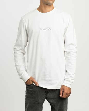 1 Small RVCA Embroidered Long Sleeve T-Shirt White M465SRSM RVCA