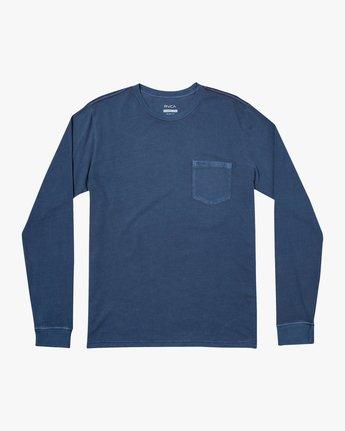 0 PTC PIGMENT LONG SLEEVE TEE Blue M467TRPT RVCA