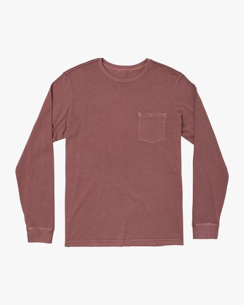 0 PTC PIGMENT LONG SLEEVE TEE Red M467TRPT RVCA