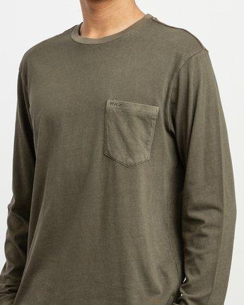 4 PTC Pigment Long Sleeve T-Shirt Green M467TRPT RVCA