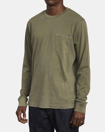 3 PTC Pigment Long Sleeve T-Shirt Green M467TRPT RVCA