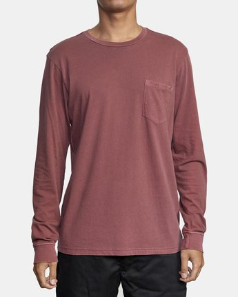 2 PTC PIGMENT LONG SLEEVE TEE Red M467TRPT RVCA
