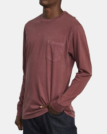 3 PTC PIGMENT LONG SLEEVE TEE Red M467TRPT RVCA
