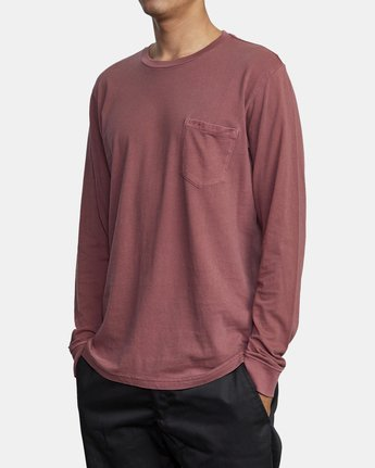 4 PTC PIGMENT LONG SLEEVE TEE Red M467TRPT RVCA